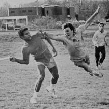 Frisbee is a popular club sport on campus in 1987.