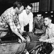 Engineering students in the 1950s