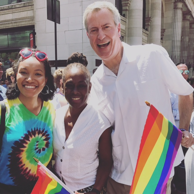 Shakinah Starks with Mayor Bill de Blasio and wife Chirlane McCray