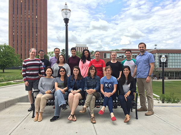 The Hierarchical Linear Modeling class from 2015 poses outside the W.E.B. DuBois library at UMass Amherst.