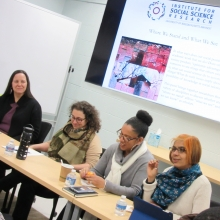Panelists in seminar: Sonia Atalay, Linda Tropp, Whitney Battle-Baptiste and Kiran Asher