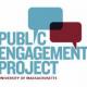 Public Engagement Project at UMass Amherst logo, blue text white background