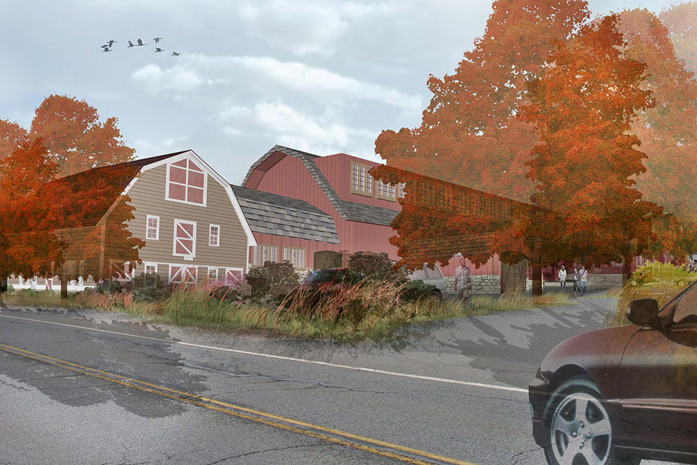 FIELDSTONE FARM: REINTERPRETING AN ICONIC LANDSCAPE FOR A CHANGING RURAL REGION - New farm store and parking, viewed from road - SAMANTHA ANDERSON