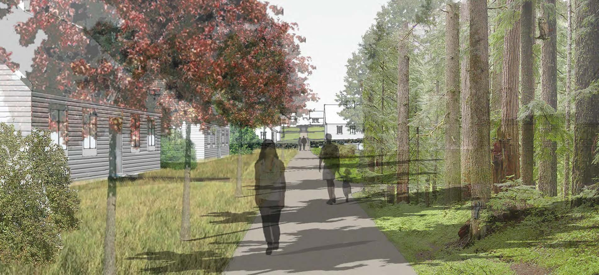 NEW ENGLAND HOUSING USING THE CONCEPT OF STONE WALLS AND HOW THEY SHAPE SPACE - View of Main Pedestrian Corridor - COLIN O'DONNELL
