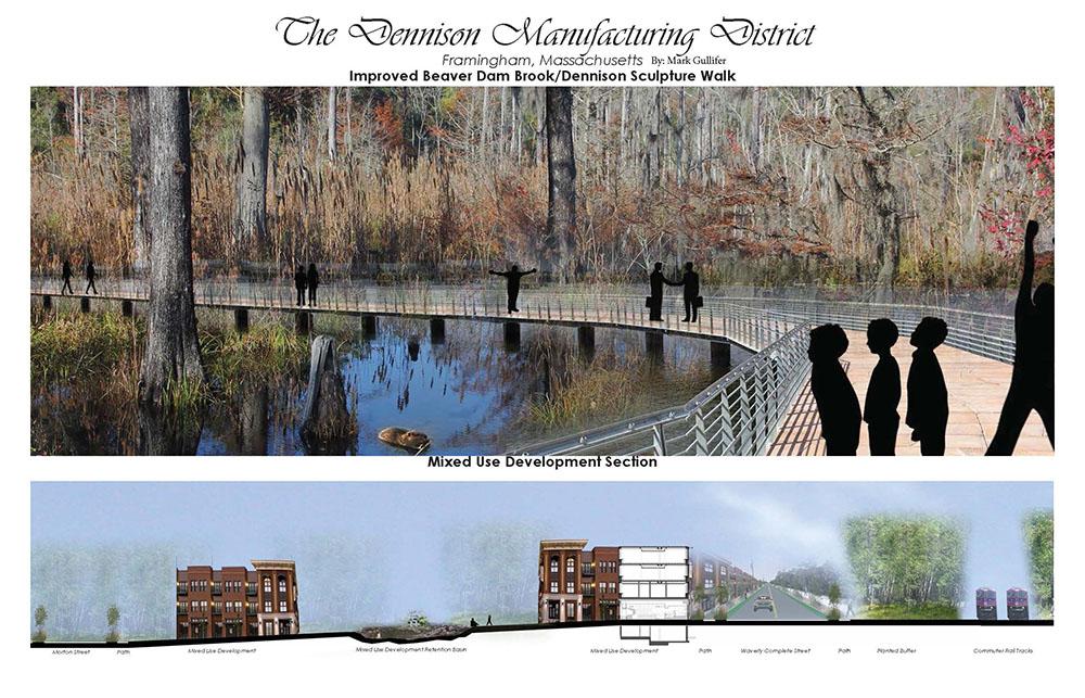 The Dennison Manufacturing District Framingham, Mass - Improved Beaver Dam Brook/Dennison Sculpture Walk by Mark Gullifer