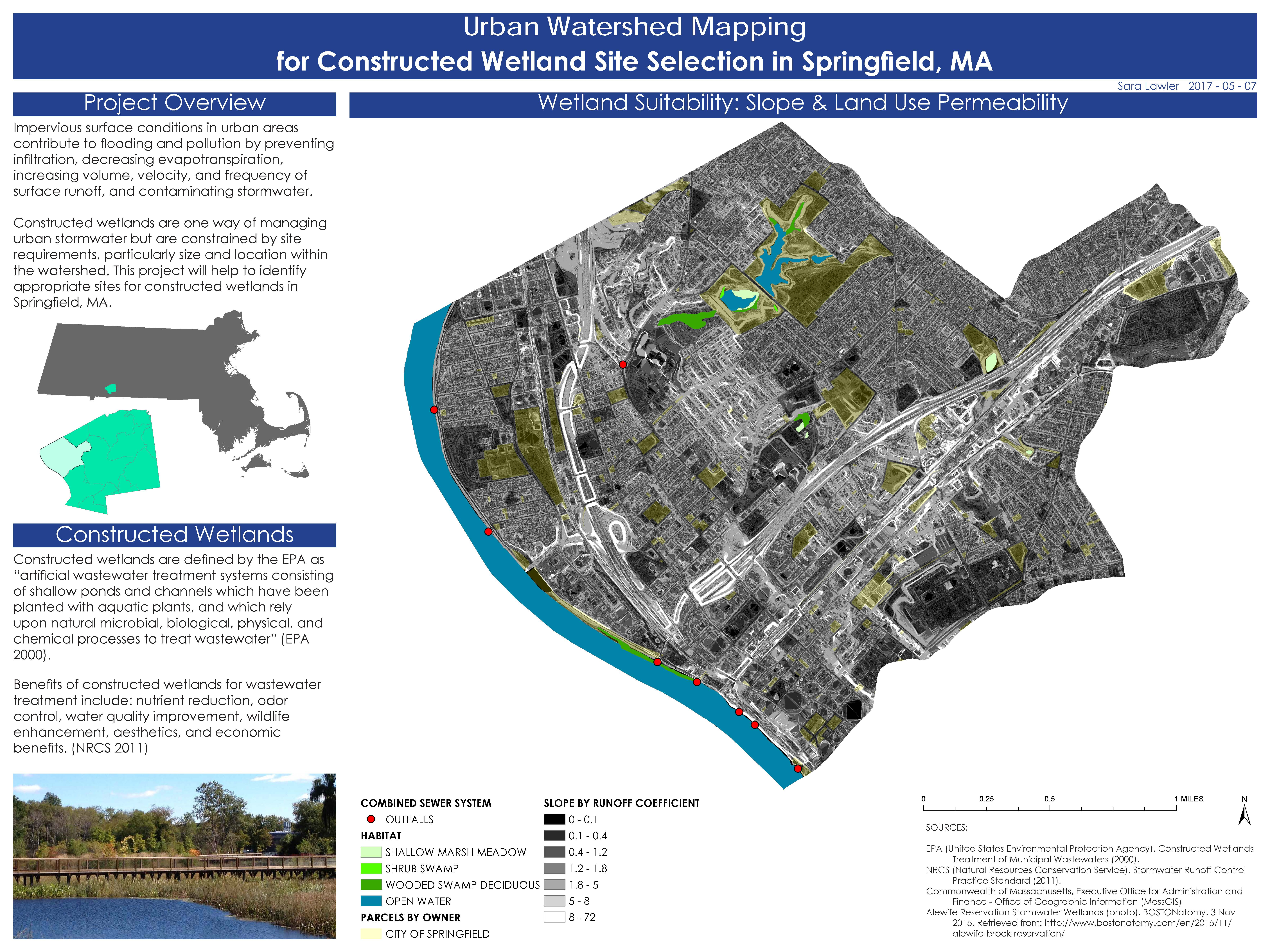 Urban Watershed Mapping for Constructed Wetland Site Selection in Springfield, MA - Sara Lawler