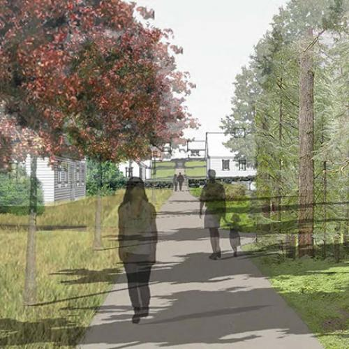 NEW ENGLAND HOUSING USING THE CONCEPT OF STONE WALLS AND HOW THEY SHAPE SPACE - View of Main Pedestrian Corridor - KEITH HANNON