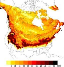 Change in the frequency of freezing days across North America, derived from air temperature from the NARCCAP models and the WATCH Forcing Data set. Darker areas are projected to experience the greatest declines in freezing day frequency, as modeled by climate scientists at UMass Amherst and elsewhere.
