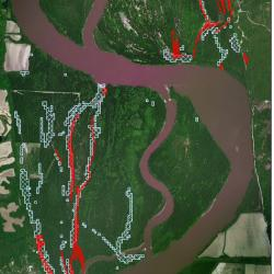 Floodplain with inundation scenarios