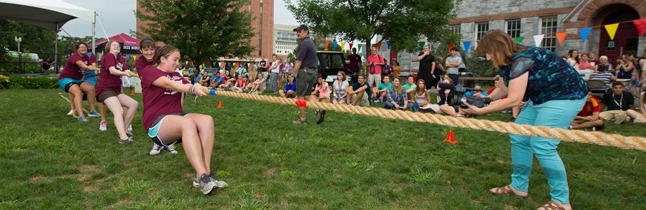Students in a rope pull at U.Fest