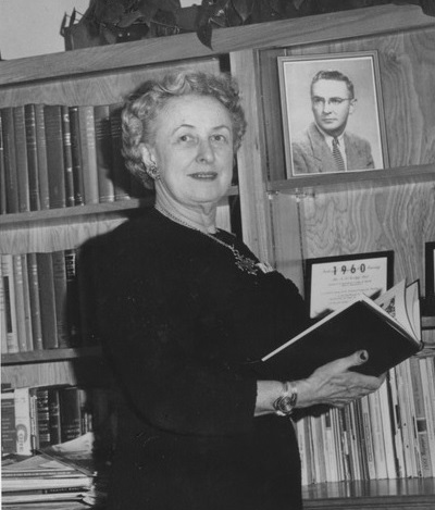 Founding College of Nursing Dean Mary Maher in Library