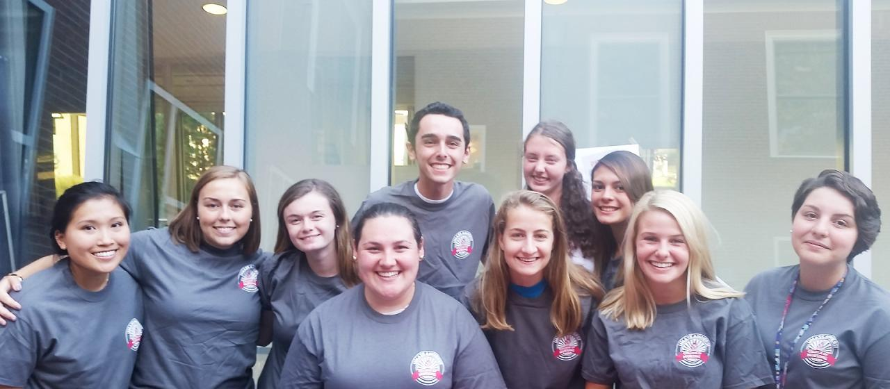 Group of students in UMass Amherst College of Nursing T-shirts