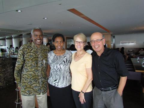 Ervin Staub, Laurie Anne Perlman, former foreign minister and current Rwandan Ambassador to Tokyo Charles Murigande, and his wife Rosette.