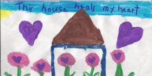Drawing of a house, flowers, and hearts