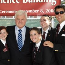 Students with Senator Ted Kennedy in 2009