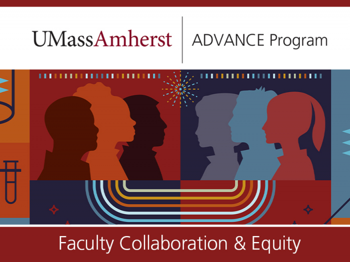 Umass ADVANCE illustration of silhouettes of heads in front of a colorful background