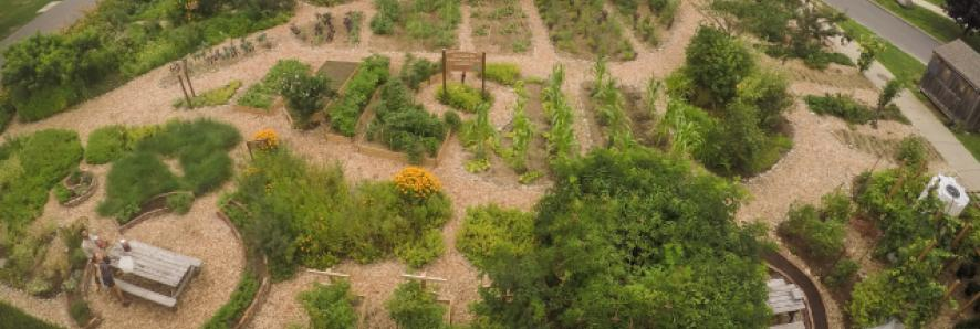 Aerial view of the AES Heart of the garden project, a garden made in conjunction with UMass Permaculture