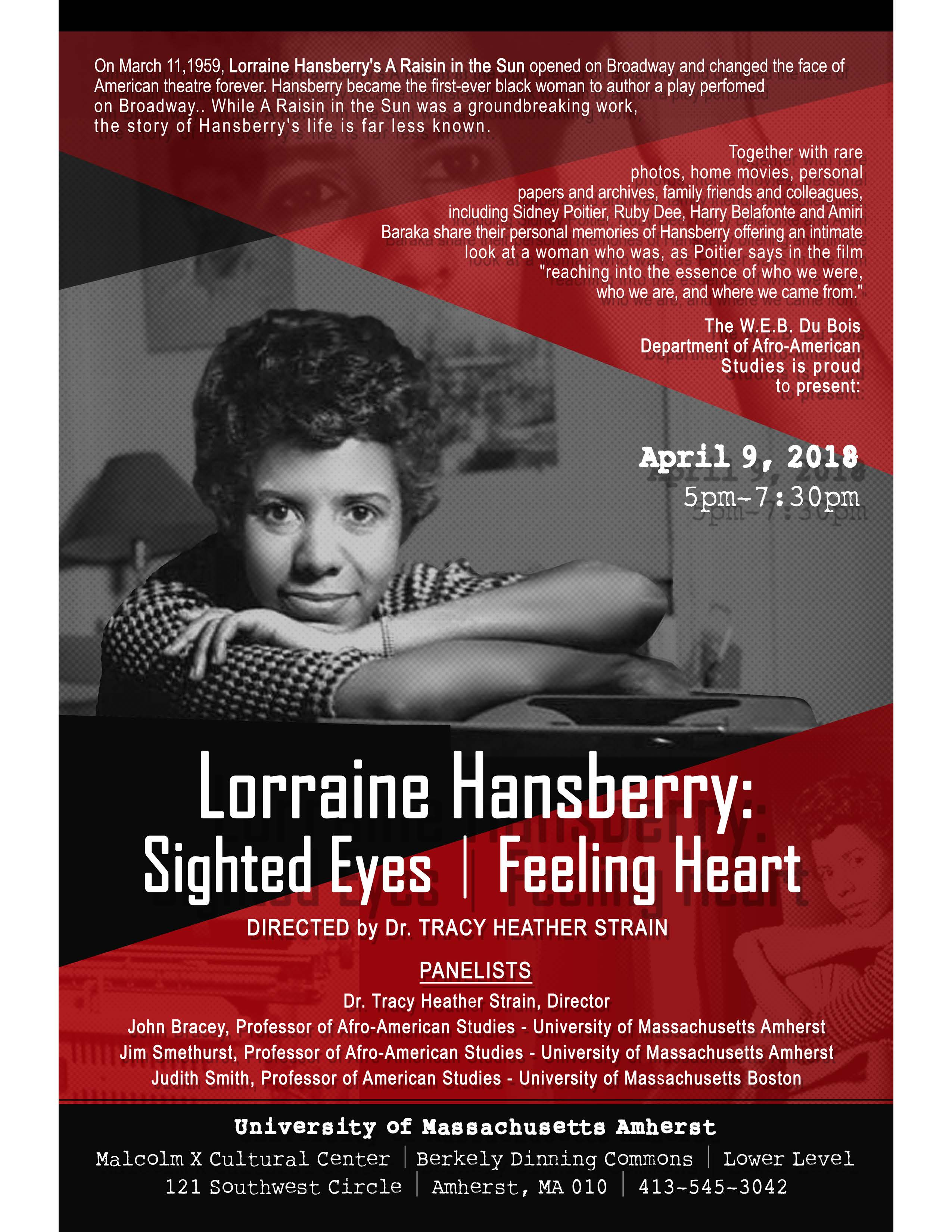 Image of flyer with Lorraine Hansberry's picture