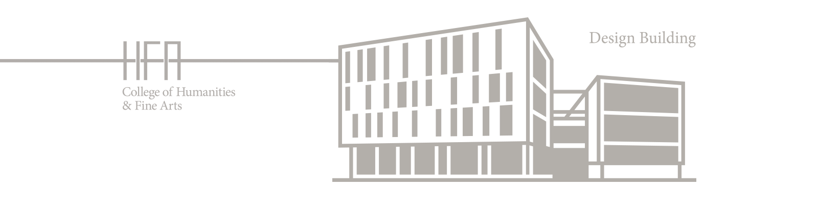 Stylized rendering of the Design Building, home of the Department of Architecture