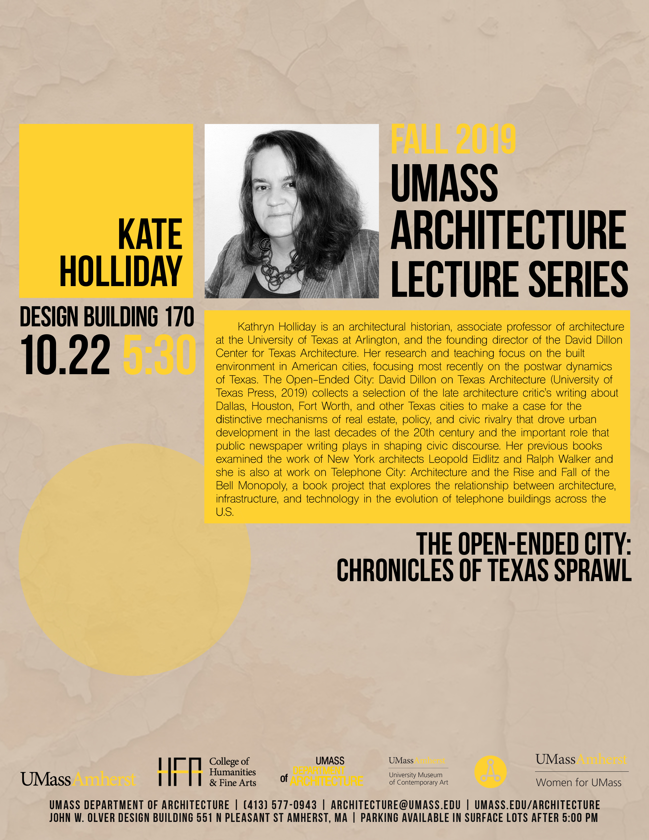 Kate Holliday lecture poster