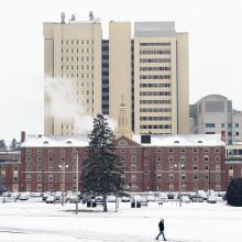 Lederle Tower rises above Northeast Area on a wintry day at the University of Massachusetts