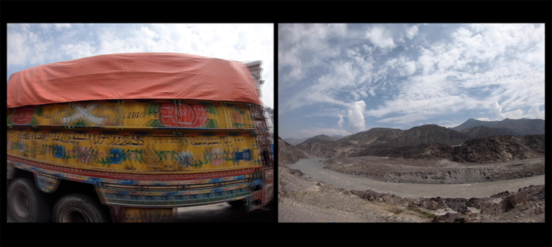 two video stills from Danyore by Mahwish Chishty. one is a blurry image of a vividly paintedtruck, the second is a dull mountainous landscape