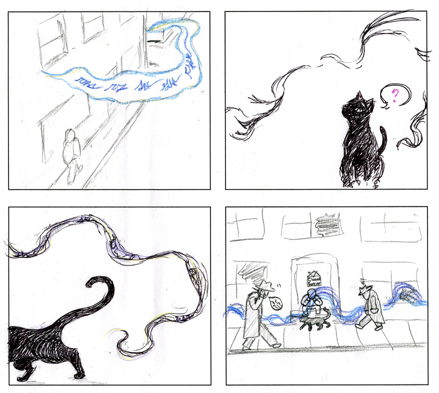 four panels of a comic featuring a black cat following a trail of something carried through the air