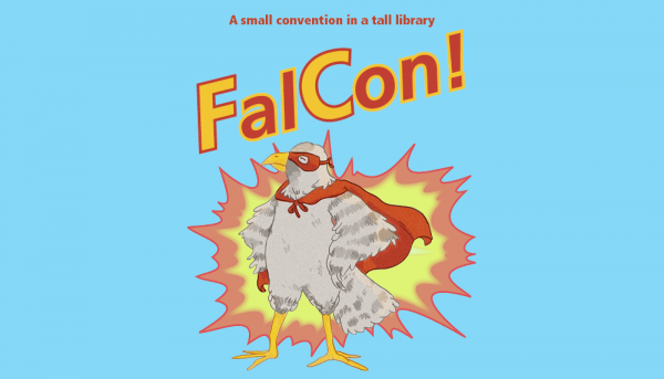 A cartoon image of a falcon in the center of a burst of light