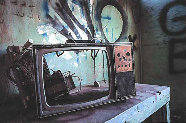 Painting of a TV with reflections