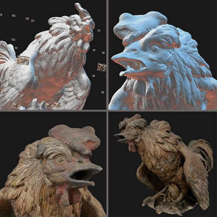 Four digital sculptures of chickens.