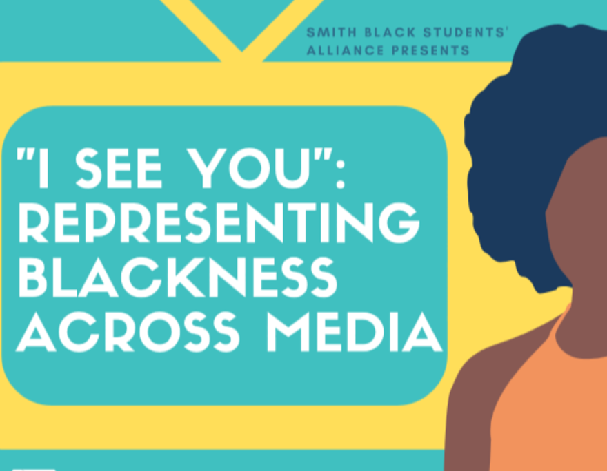 """yellow cartoon outline of a TV, with the words """"I See You"""": Representing Blackness Across Media, wtih a black woman from the shoulders up standing next to the TV"""