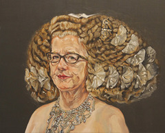 painting of an old woman with a large volume of curly hair