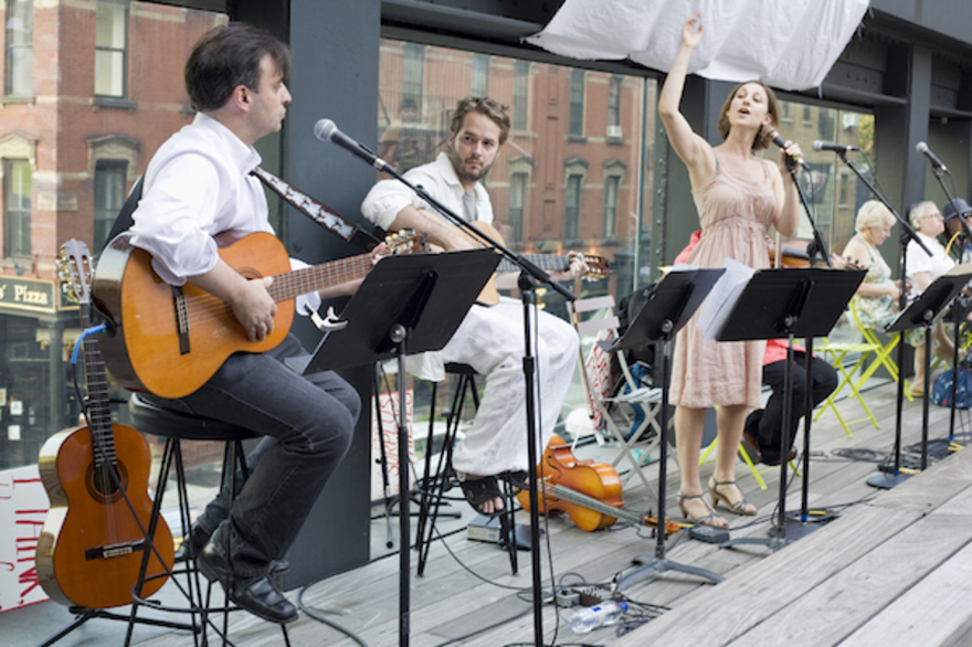Outdoor performance of a musical group
