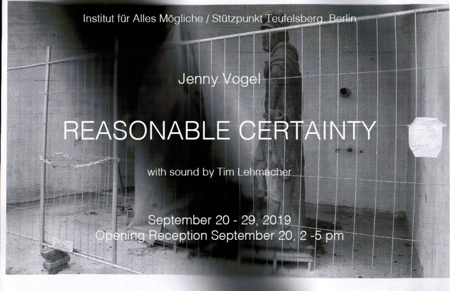 Jenny Vogel - Reasonable Certainty eptember 20 - 29, 2019; Opening Reception Friday September 20, 2-5 pm