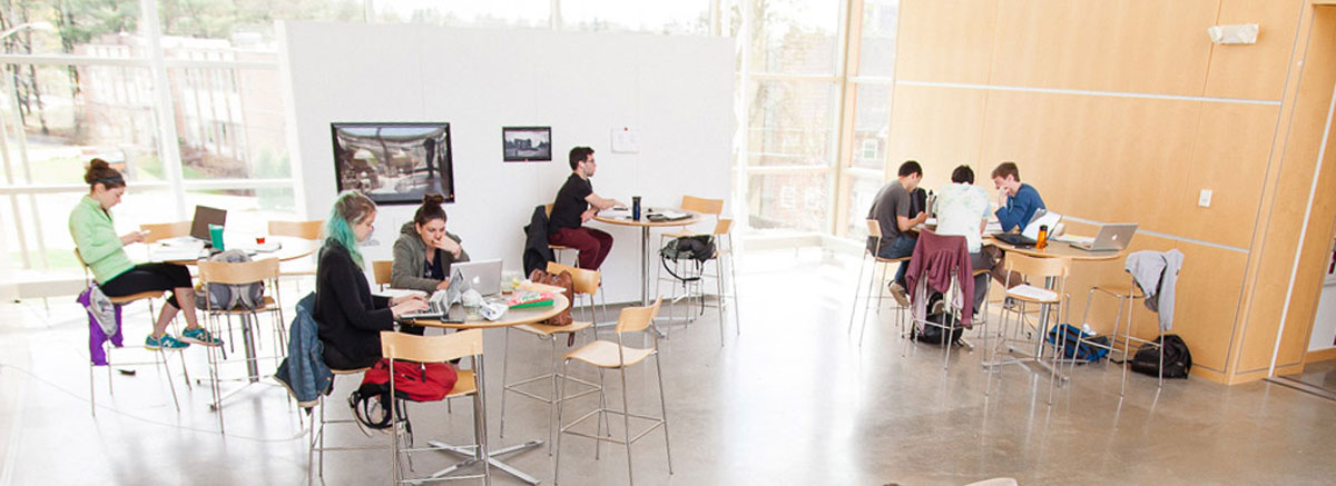 Students relax in the Studio Art Building