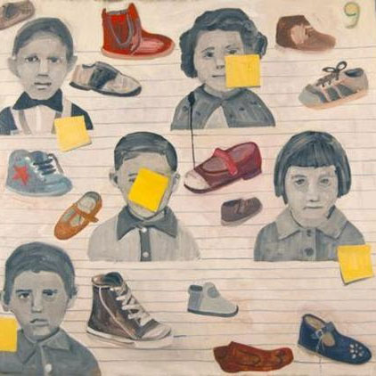 Drawings of children and shoes