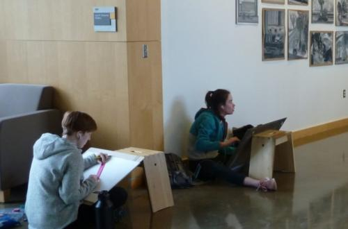 Foundations' students are drawing throughout the Studio Arts Building