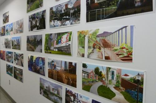 Student artwork from Open House is on display in the Studio Arts Building