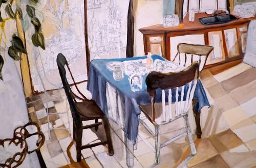 Student painting of two chairs and a table with a blue cloth on it.