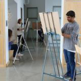 Student's working at easels