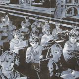 painting of children seated at rows of desks
