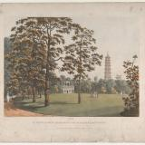 Heinrich Josef Schütz, A View in Kew Gardens of the Alhambra and the Pagoda, 1813, aquatint with watercolor, 35.9 x 43.8 cm, The Metropolitan Museum of Art, New York City, NY.