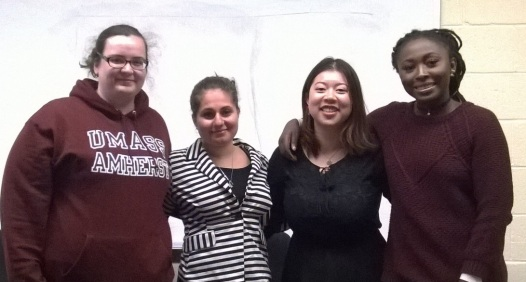 From left to right: Molly Henry (expected to finish Fall 2016), Tereza Pinkhasova, Liliqing Xue, and Osato Egonmwan