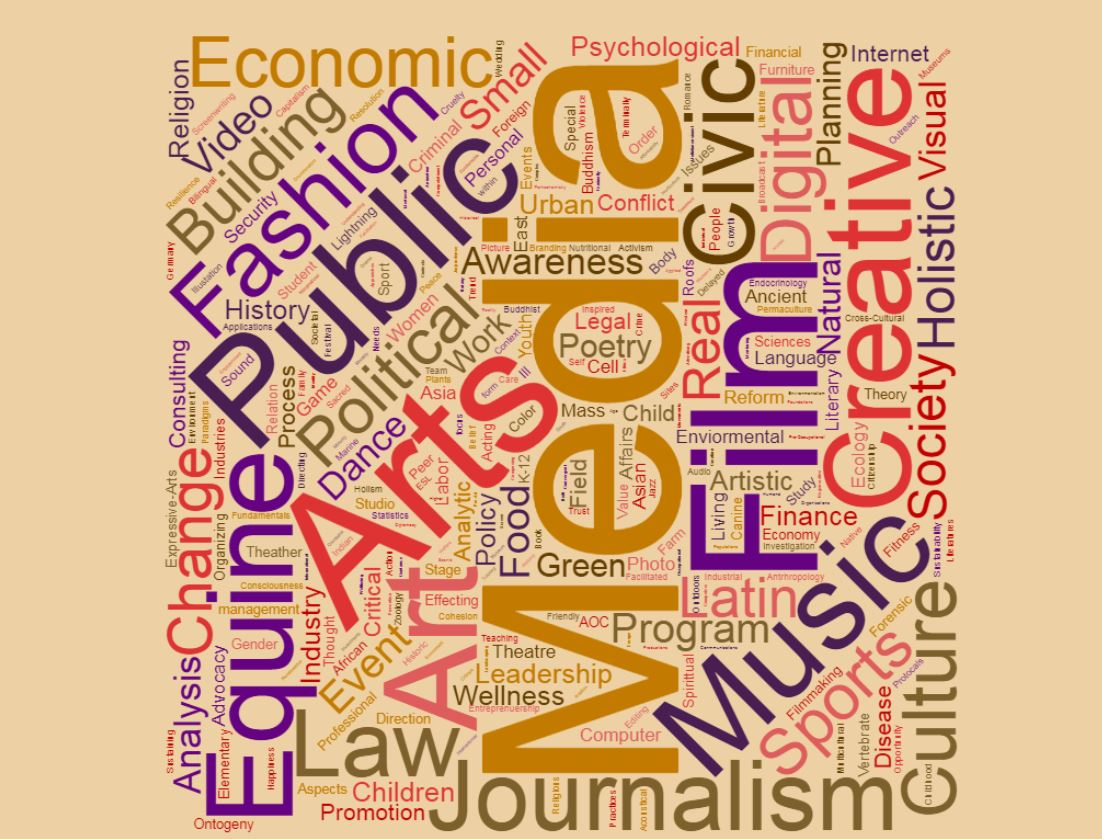 Wordle of Arts and Cultural Media Studies