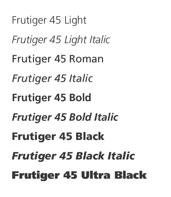Sample of Frutiger typefaces