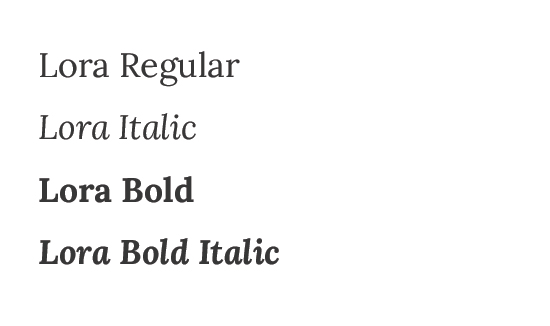 Sample of Lora typefaces