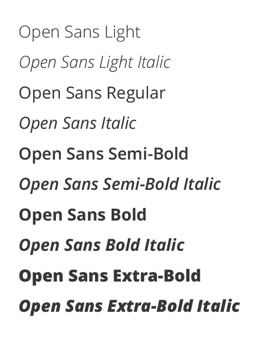 Sample of Open Sans typefaces