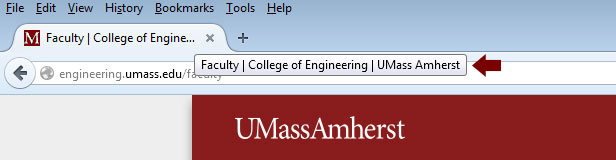 UMass Amherst page title format example