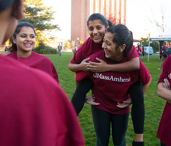 UMass Amherst students at an event on campus
