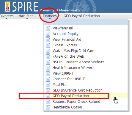 Spire Menu GEO payroll deduction